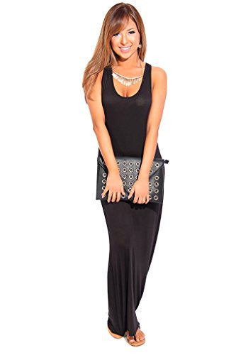 Scoop Neck Racer Back Stretchy Long Maxi Dress - Black, Large