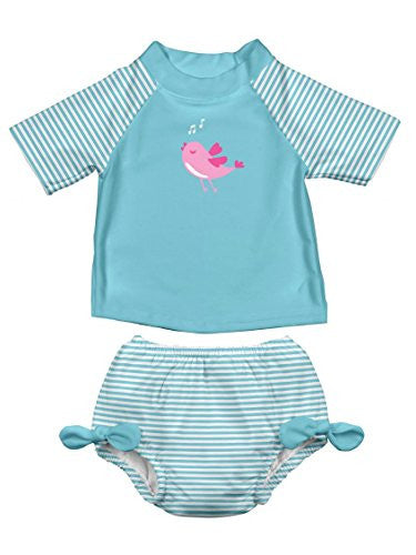 Mod Ultimate Swim Diaper Stripe Rashguard 2 Piece Set - Aqua-24 months