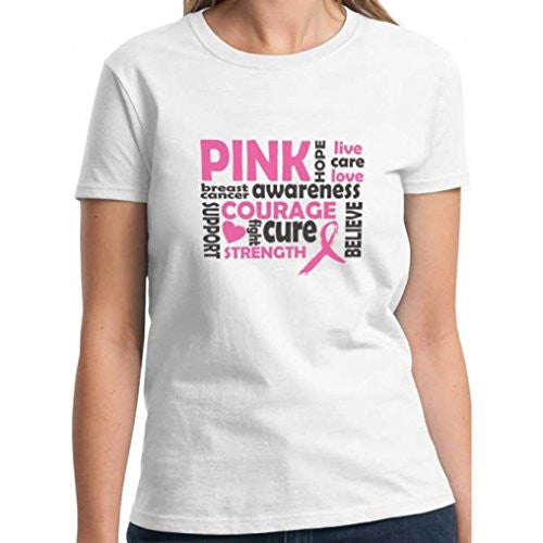 Breast Cancer Awareness Message Ladies Fit White Cotton T-Shirt (Medium)