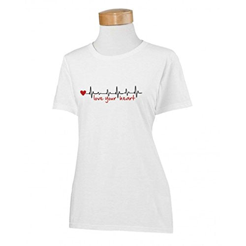 Love Your Heart EKG White Ladies T-Shirt (XLarge)
