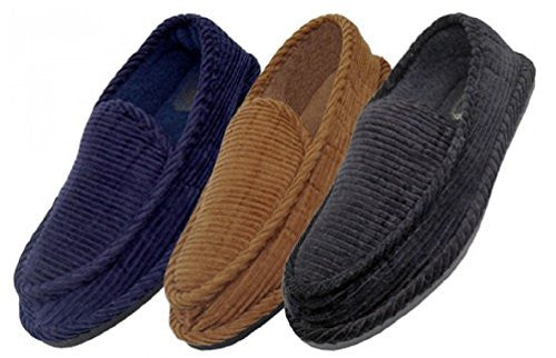 Wholesale Men Closed Back Corduroy Slippers, Navy, Size 7