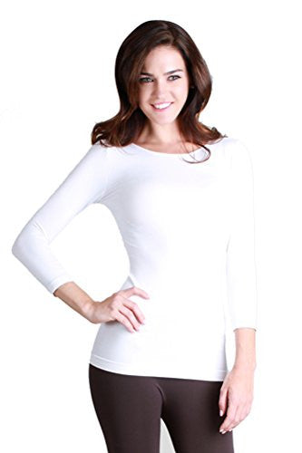 Nikibiki Womens Seamless Knit 3/4 Sleeve Crew Neck Top One Size 2-10 (White)