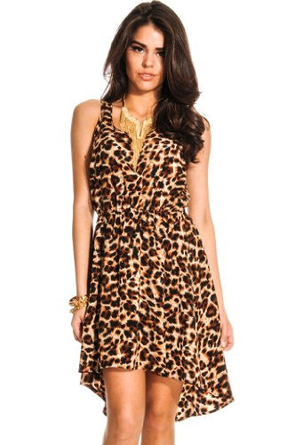 Scooped Neckline Sleeveless Tonal Stitching Dress Dress - Leopard, Large
