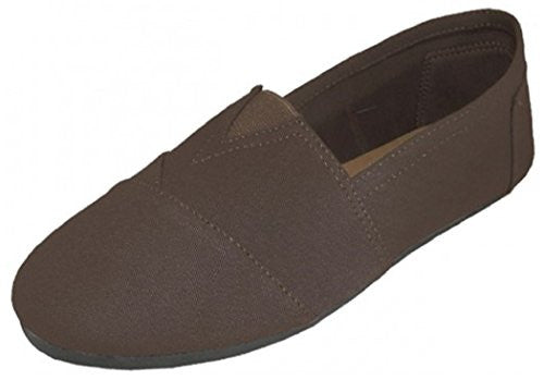 Wholesale Men's Canvas Slip On - Brown, Size 12
