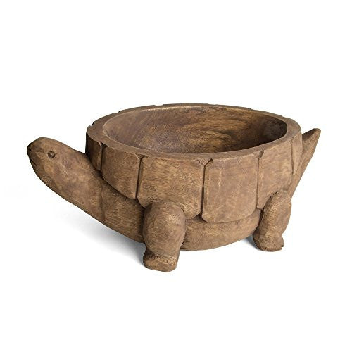 Carved Wood Turtle Bowl