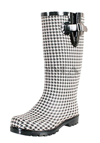 Nomad Women's Puddles Rain Boot, Black/White Hounds Tooth, 9 M US