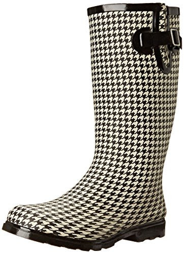 Nomad Women's Puddles Rain Boot, Black/White Hounds Tooth, 6 M US