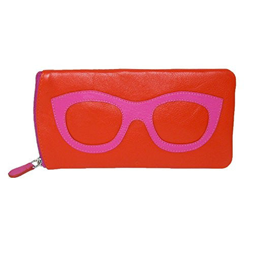 Eyeglass case with side zipper - Orange/Fuchsia