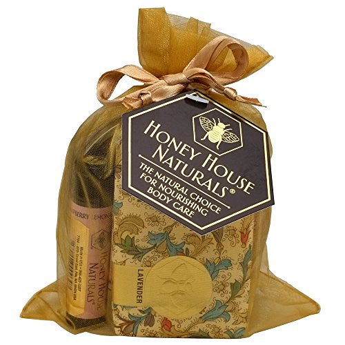 Honey House Naturals 3 Piece Gift Set: Soap, Lotion & Lip Moisturizers, Lavender