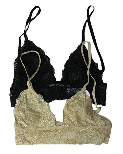 Full Lace Triangle Bralette with Hook Clasp - Black and Full Lace Triangle Bralette with Hook Clasp - Beige, Medium/Large (Pack of 2)