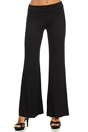 Solid color, self-banded palazzo pants with a wide leg, Black, X-Large
