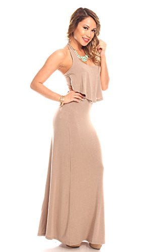 Halter Open Back Maxi Dress - Mocha, Large