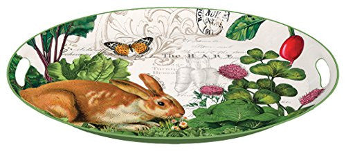 Garden Bunny,  Deoupage Medium Metal Tray