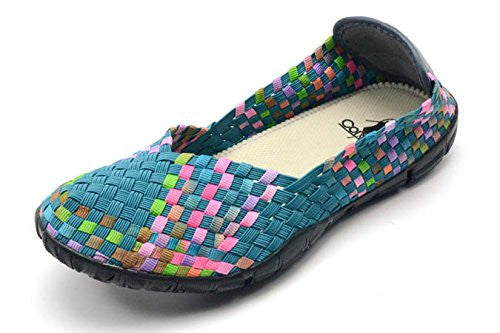 Sidewalk Women's Flat Shoes - Turquoise/Multi Size 10