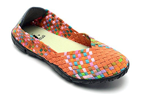 Sidewalk Women's Flat Shoes - Orange/Multi Size 6