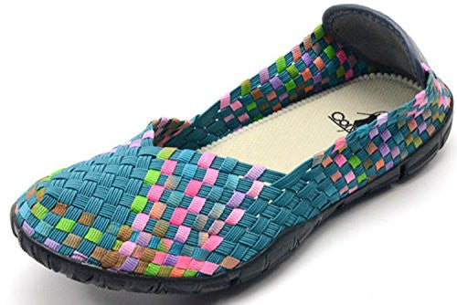 Sidewalk Women's Flat Shoes - Turquoise/Multi Size 8