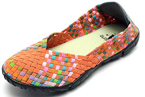 Sidewalk Women's Flat Shoes - Orange/Multi Size 7