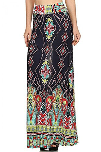 Paisley print, banded, maxi skirt, Multi, Medium