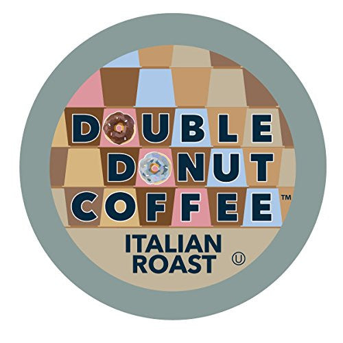 Double Donut Coffee Single Serve Cups for Keurig K-Cup Brewer, Italian Roast, 12 Count