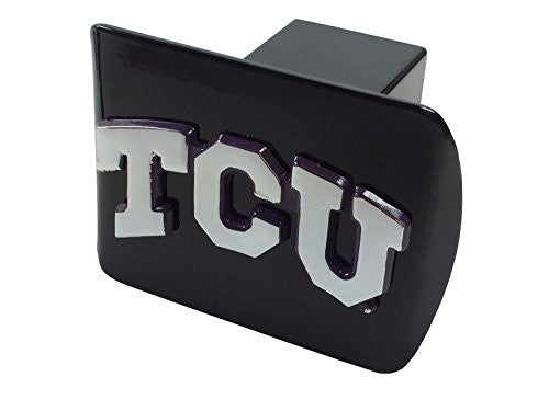 "TCU METAL ""TCU"" emblem (chrome with purple trim) on black METAL Hitch Cover"