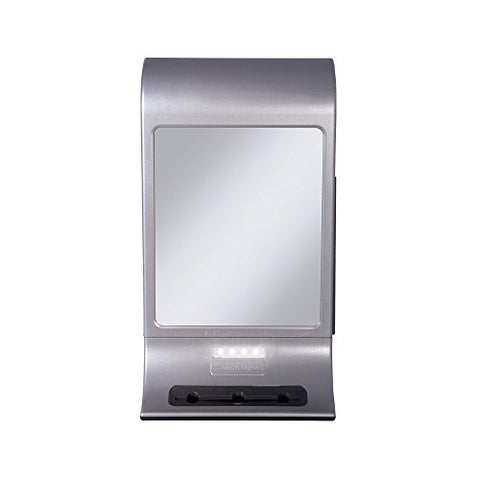 Z'Fogless Water Mirror with Focused Bright LED Light Panel and Tri Acessory Holder and Squeegee, Silver Finish