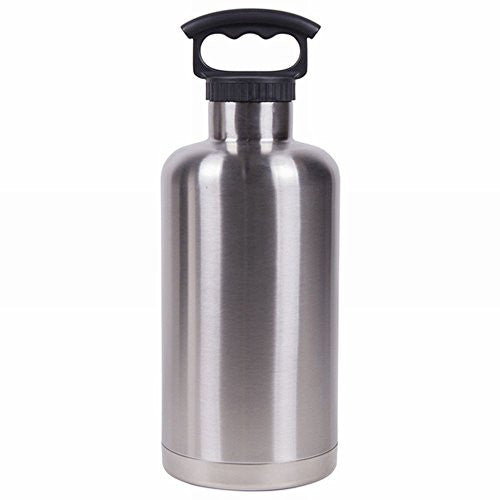 Double Wall Stainless Steel Water Bottle - 64 oz Tank Growler, Stainless Steel
