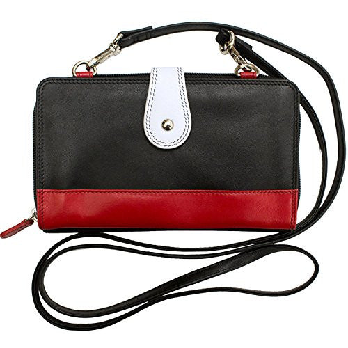 ili Leather Smartphone Crossbody Wallet with RFB (Black/ White/ Red)
