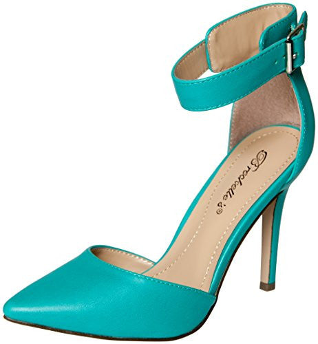 Breckelles Women's Faux Leather Pointed Toe Ankle Strap High Heel Stiletto Pumps (Aqua / 7.5 B(M) US)