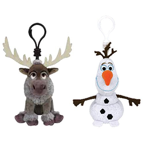 (2 Piece Bundle) Sven the Reindeer Disney Frozen Plush Clips, 5-Inch and Olaf the Snowman Disney Frozen Plush Clips, 5-Inch