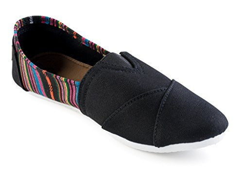 Wholesale Women's Canvas Shoes - Black, Size 6