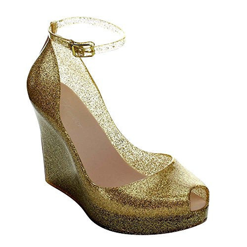FOREVER ROSEMARY-86 Women's Peep Toe Wedge Heel Jelly Sandals, Color:GOLD GLITTER, Size:5