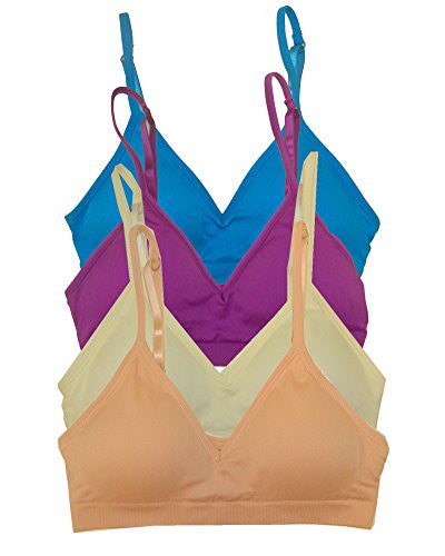 Seamless Plunging V-Neck Sport Bra - Turquoise and Seamless Plunging V-Neck Sport Bra - Violet and Seamless Plunging V-Neck Sport Bra - Ivory and Seamless Plunging V-Neck Sport Bra - Salmon, One Size (Pack of 4)