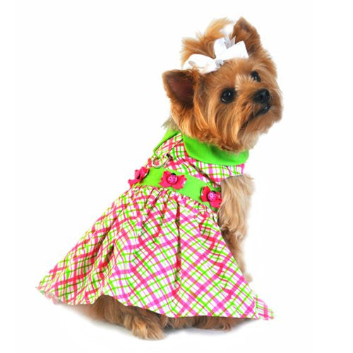 Plaid Dog Dress with Lady Bug - Pink and Green Small