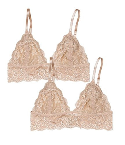 Full Lace Triangle Bralette with Hook Clasp - Beige, Small/Medium (Pack of 2)