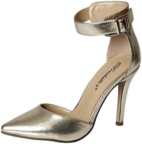 Breckelles Women's Faux Leather Pointed Toe Ankle Strap High Heel Stiletto Pumps (Champagne / 8 B(M) US)