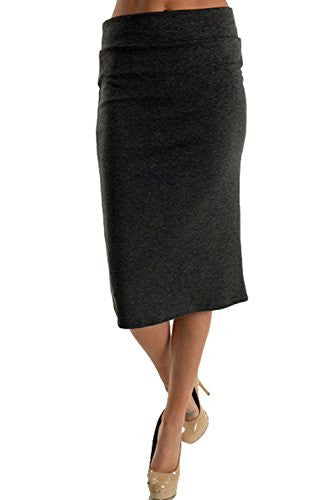 Azules Women's Below the Knee Pencil Skirt - Made in USA,Large,Heather Charcoal