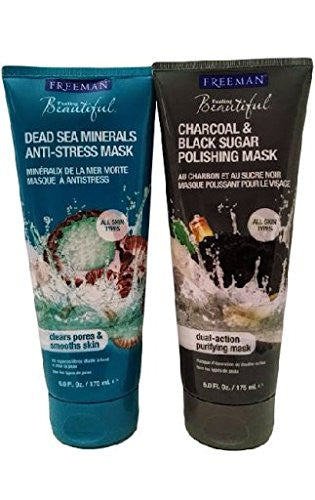 Dead Sea Minerals Facial Anti-Stress Mask, 6 oz Charcoal & Black Sugar Facial Polishing Mask, 6 0z