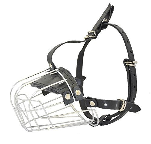 "Metal Leather Wire Basket Dog Muzzle Length 3.5"" - Snout 13.25"""