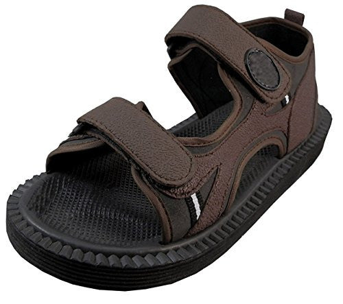 Wholesale Men's Velcro Strap Sandals - Brown, Size 11