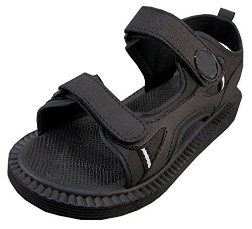 Wholesale Men's Velcro Strap Sandals, Black, Size 12