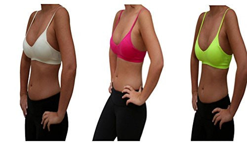 Seamless Plunging V-Neck Sport Bra - Berry and Seamless Plunging V-Neck Sport Bra - Neon Yellow and Seamless Plunging V-Neck Sport Bra - Ivory, One Size (Pack of 3)