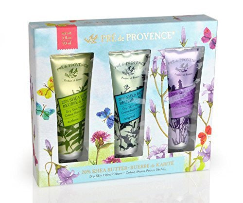 Pre de Provence Floral Meadow Shea Butter Dry Skin Hand Cream Gift Box - Set of 3 - Verbena, Original, and Lavender