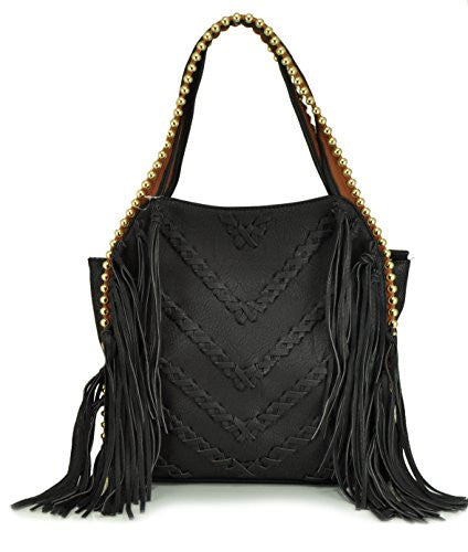 GRAYA Fringe Shoulder Bag - Black