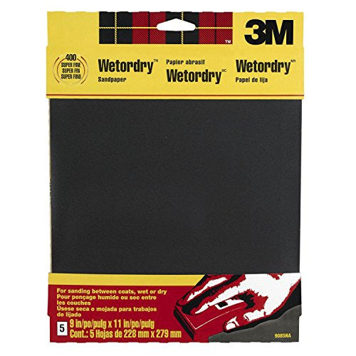 3M Wetordry Sandpaper, 9-Inch by 11-Inch, Super Fine 400 Grit, 5-Sheet, 4-PACK
