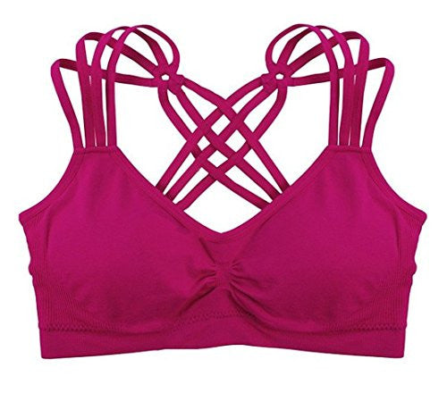 Strappy Criss-Cross Back Comfort Sports Bra - Berry (One Size)