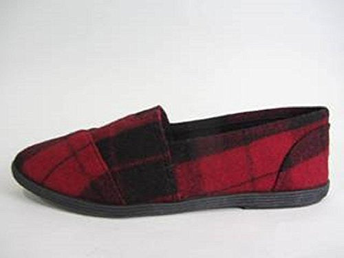 Soda Women Object Round Toe Flats Shoes Red Plaid 5.5