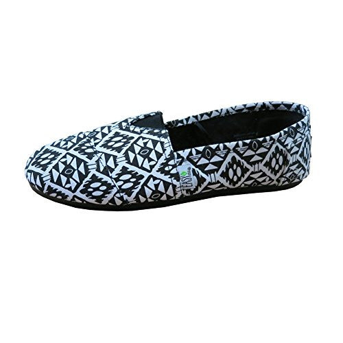 Womens Canvas Slip On Shoes Flats Diamd Wht-10