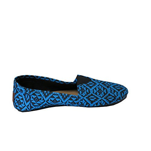 Womens Canvas Slip On Shoes Flats Diamd Blu-5