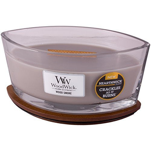 "WoodWick Wood Smoke Ellipse Jar Hearthwick Flame Scented Candle, 7.5"" x 4.75"" x 3.63"""