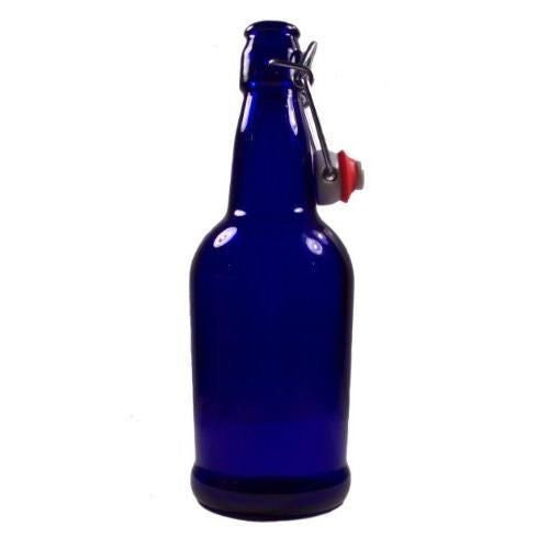 16oz Cobalt Blue Bottles Ez Cap Flip Top Home Brewing Growlers (2 Bottles)